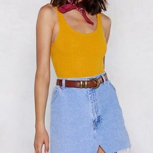Mustard yellow ribbed tank bodysuit